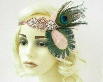 Blush Light Pink White Bead Sequin Headpiece 1920s Headband Fascinator Vtg 4809