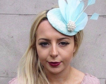 Mint Green Silver Feather Fascinator Teardrop Races Headband Hat Cocktail 4871
