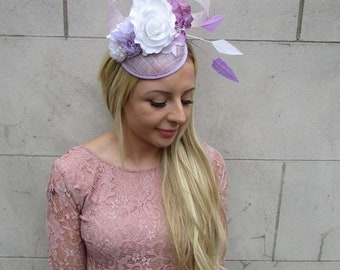 Lilac Light Purple White Flower Feather Pillbox Hat Fascinator Races Hair  6280 cd5277a636f