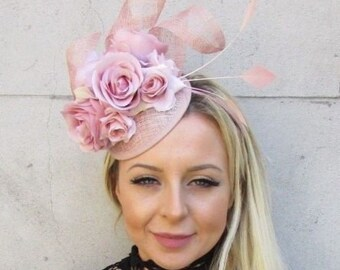 Nude Blush Light Pink Sinamay Rose Flower Feather Hat Fascinator Races Hair  5783 1bc0be1329e