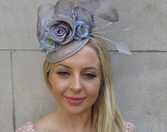 18632f46a14 Grey Light Blue Sinamay Rose Flower Feather Pillbox Hat Fascinator Wedding  6033