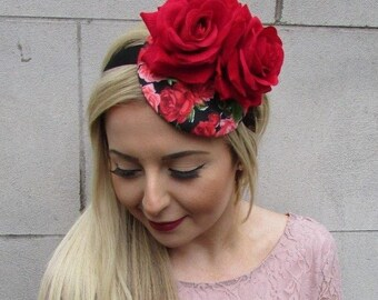 Red Black Rose Flower Floral Fascinator Hat Headband Races Rockabilly 1950s  4976 0a3ac31f92a