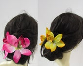 1940s Hair Snoods- Buy, Knit, Crochet or Sew a Snood Double Orchid Flower Hair Clamp Claw Clip  Available in Hot Pink or Yellow  Hair Jaw Large Clip Fascinator Floral 1940s Vintage Style c117 $11.00 AT vintagedancer.com