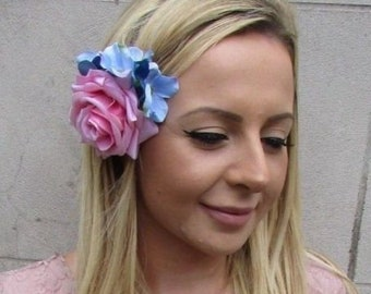 Dusty Light Blue Rose Hydrangea Flower Hair Clip Fascinator Bridesmaid 4319