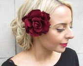 1940s Hair Snoods- Buy, Knit, Crochet or Sew a Snood SALE 1940s Style Large Burgundy Rose Hair Clip Flower Fascinator Floral Vintage Style Big Wine Red Rose Maroon Deep Red rq1 $4.05 AT vintagedancer.com
