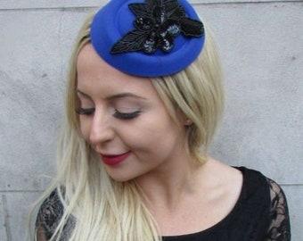 Royal Blue Black Sequin Pillbox Hat Hair Fascinator Races Wedding Headpiece  6782 915f83ec033