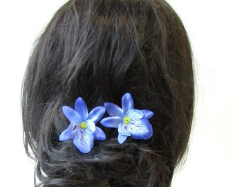 Large Blue Orchid Flower Hair Pin Vintage Rockabilly 1950s Hawaiian Corsage 1513