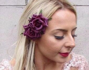 Double Lilac Grey Rose Flower Hair Clip Rockabilly 1950s Purple Fascinator 2894