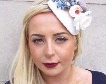 White Ivory Blue Lilac Rose Berry Flower Fascinator Hair Headband Races Hat  4748 64e80c29f4b3