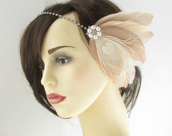 Nude Cream Rose Gold Silver Feather Turban Headpiece Flapper Vintage 1920s 909
