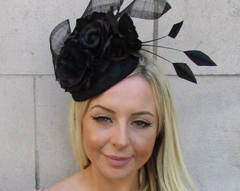 5cc79aaeb84ba Black Rose Floral Flower Feather Lace Sinamay Hat Fascinator Races Wedding  5929