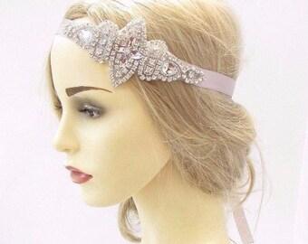 Beige Nude Light Brown Cream Silver Feather Headpiece 1920s Headband Vtg 4260