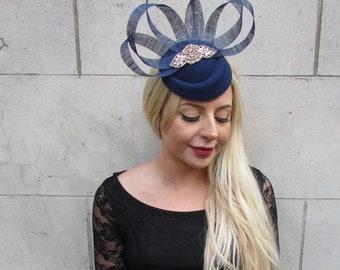 bbc4ae0c0c1 Navy Blue Rose Gold Silver Pillbox Hat Hair Fascinator Clip Races Wedding  6587