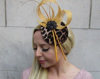 Mustard Gold Yellow Black Feather Leopard Animal Print Hat Fascinator Races  6392 3a03cc5bfc8
