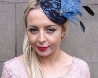 Black Steel Blue Statement Feather Fascinator Races Pillbox Hat Vtg Races  4335 d0ab07cbbb0