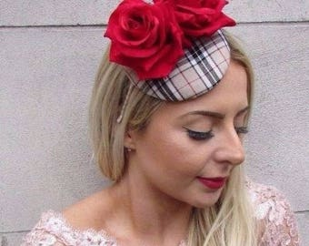Black White Red Rose Tartan Feather Fascinator Hat Hair Clip Pillbox Races 4568