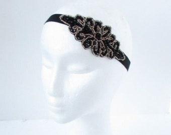 Navy Blue Bronze Silver Beaded Elastic Headband 1920s Great Gatsby Flapper 6795