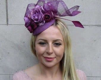 Plum Grape Purple Rose Flower Feather Hat Fascinator Hair Races Wedding Vtg  6511 d3421e8e75d