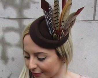 Mustard Yellow Gold Pheasant Feather Pillbox Hat Fascinator Races Hair Clip 5436