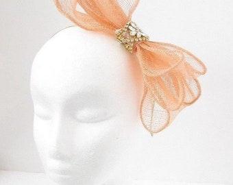 Peach Apricot Rose Gold Silver Sinamay Bow Hair Fascinator Headband Wedding 5823