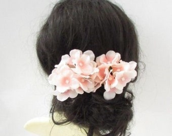 2 x Blush Light Pink Hydrangea Flower Hair Pins Bridesmaid Fascinator Boho  5704 c55935213b9