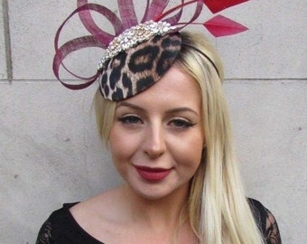 Burgundy Wine Red Gold Leopard Animal Print Feather Hat Fascinator Hair 6657 de930d22dcb
