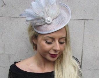Grey Light Lilac Blue Flower Saucer Disc Hat Fascinator Headband Races Hair 7169