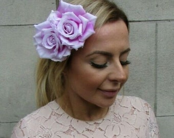 Lilac Purple Double Rose Flower Hair Clip Rockabilly Fascinator Bridesmaid 3819