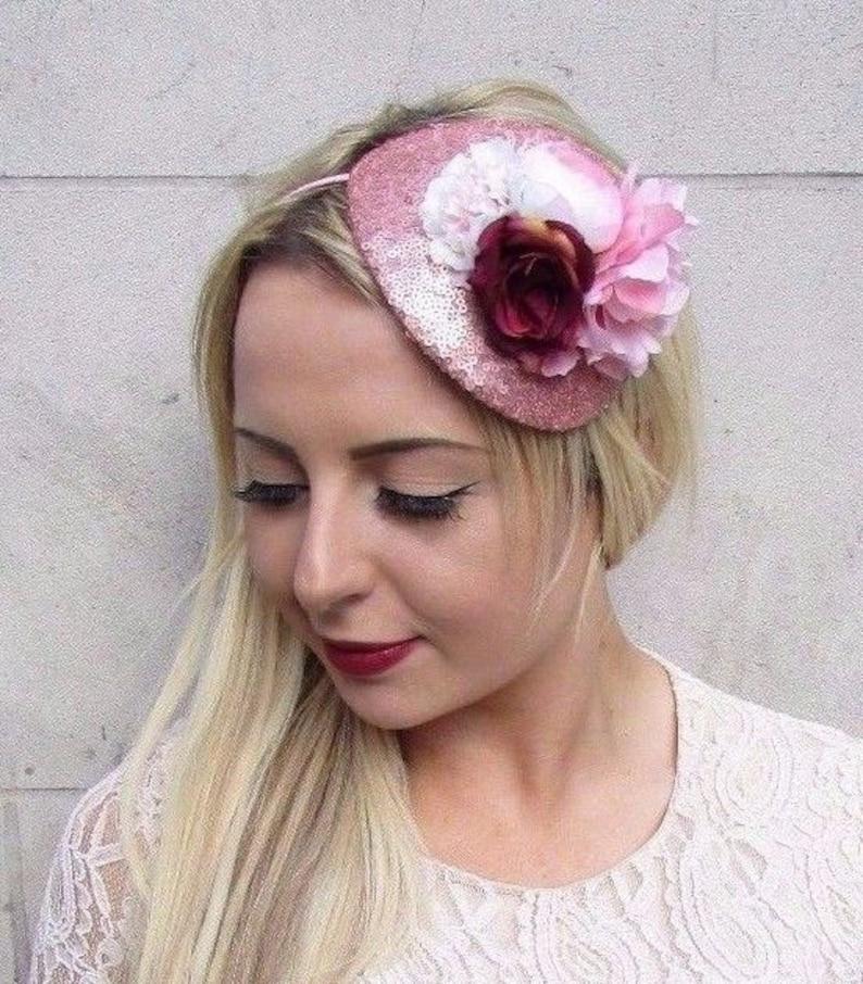 29403db4 Rose Gold Blush Light Pink Burgundy Red Flower Fascinator Hat   Etsy