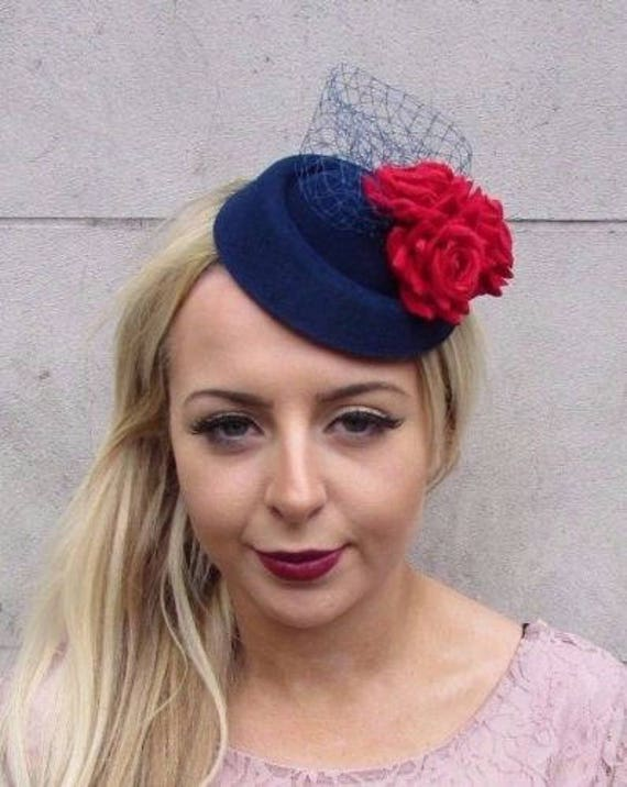 Navy Blue Red Rose Flower Pillbox Hat Fascinator Races Cocktail Headpiece  4414 46be3367020