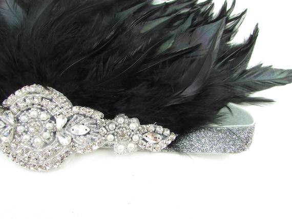 Black /& Silver Feather Headdress Burlesque Headband 1920s Showgirl Carnival Y33