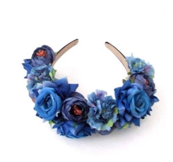 Royal Blue Rose Flower Headband Hair Crown Floral Boho  acf63785ca0