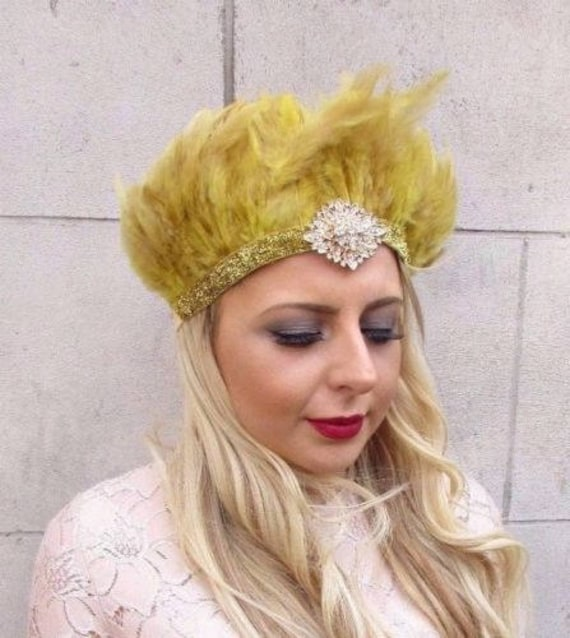 Silver Black Ostrich Feather Headdress Headpiece 1920s Flapper Vtg Showgirl T86