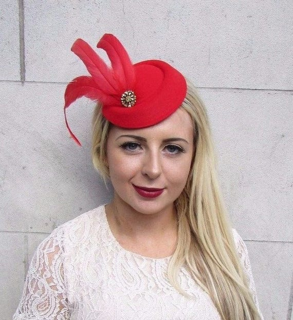 Red Gold Statement Feather Pillbox Hat Hair 1940s Fascinator Races Vintage  3772 56e5916140e