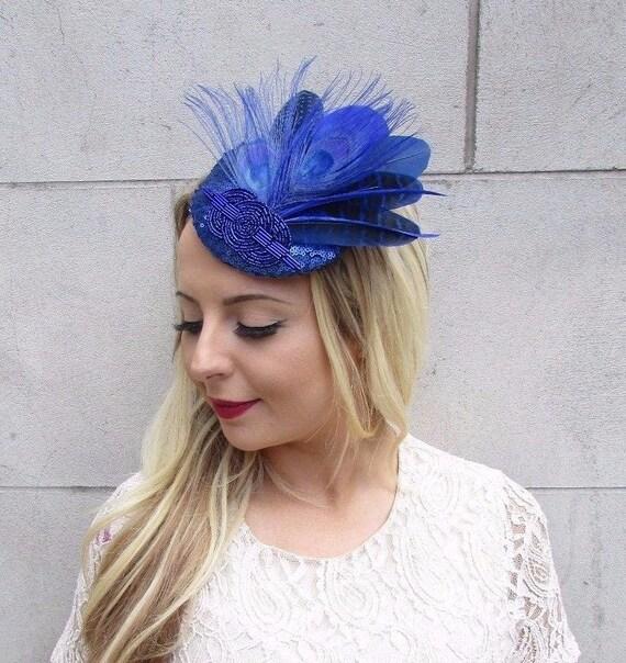 Royal Blue Sequin Feather Fascinator Pillbox Races Wedding Hat Headpiece 3706