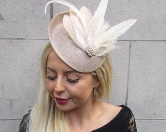 Beige Cream Champagne Feather Disc Saucer Hat Fascinator Hair Races Wedding 6825