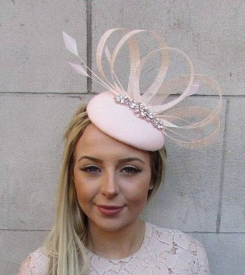 7ba3e75a Blush Light Pink Rose Gold Felt Feather Pillbox Hat Races   Etsy