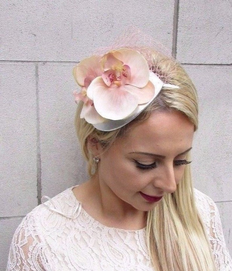4d5bfb9c1d31f Peach Blush Pink Silver Orchid Flower Fascinator Net Hair