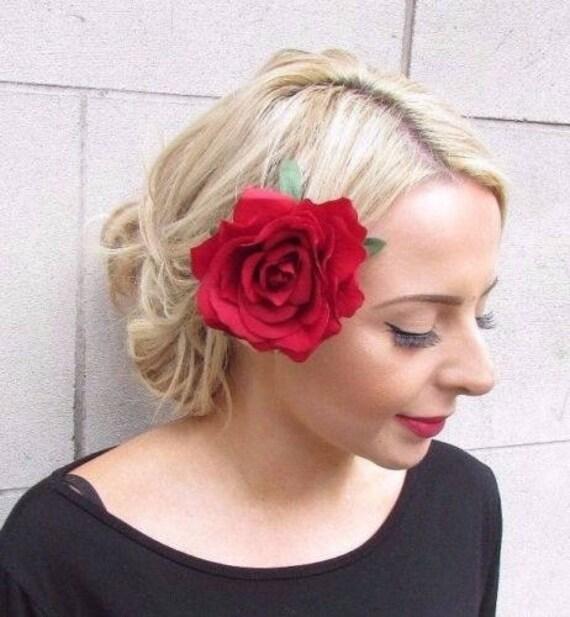 Large Double Burgundy Wine Red Rose Flower Hair Clip Rockabilly 1950s Vtg 2703