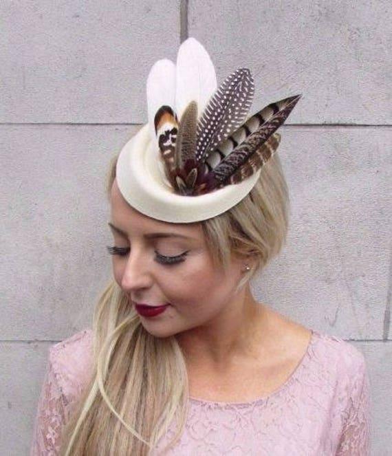 Cream Brown Pheasant Feather Pillbox Hat Hair Fascinator Races Clip Vintage  4097 f3e8b1029cc9