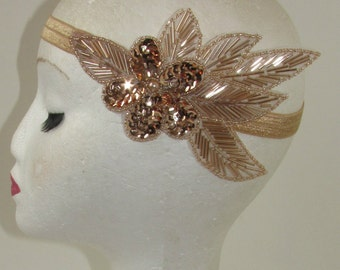 Rose Gold Nude Beaded Headband Headpiece Vintage 1920s Great Gatsby Flapper Dress Charleston Sequin Sequinned Elasticated Stretch S64