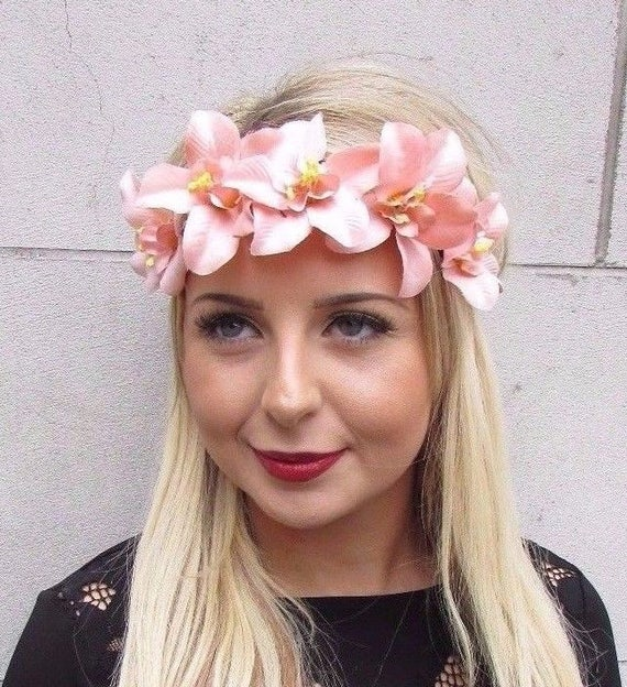 Rainbow Orchid Flower Headband Sugar Skull Hair Crown Halloween Fancy Dress M84