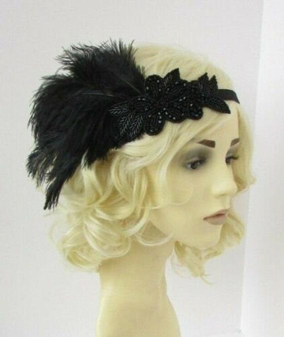 Black Ostrich Feather Headpiece Great Gatsby Flapper Headband 1920s Vintage 907