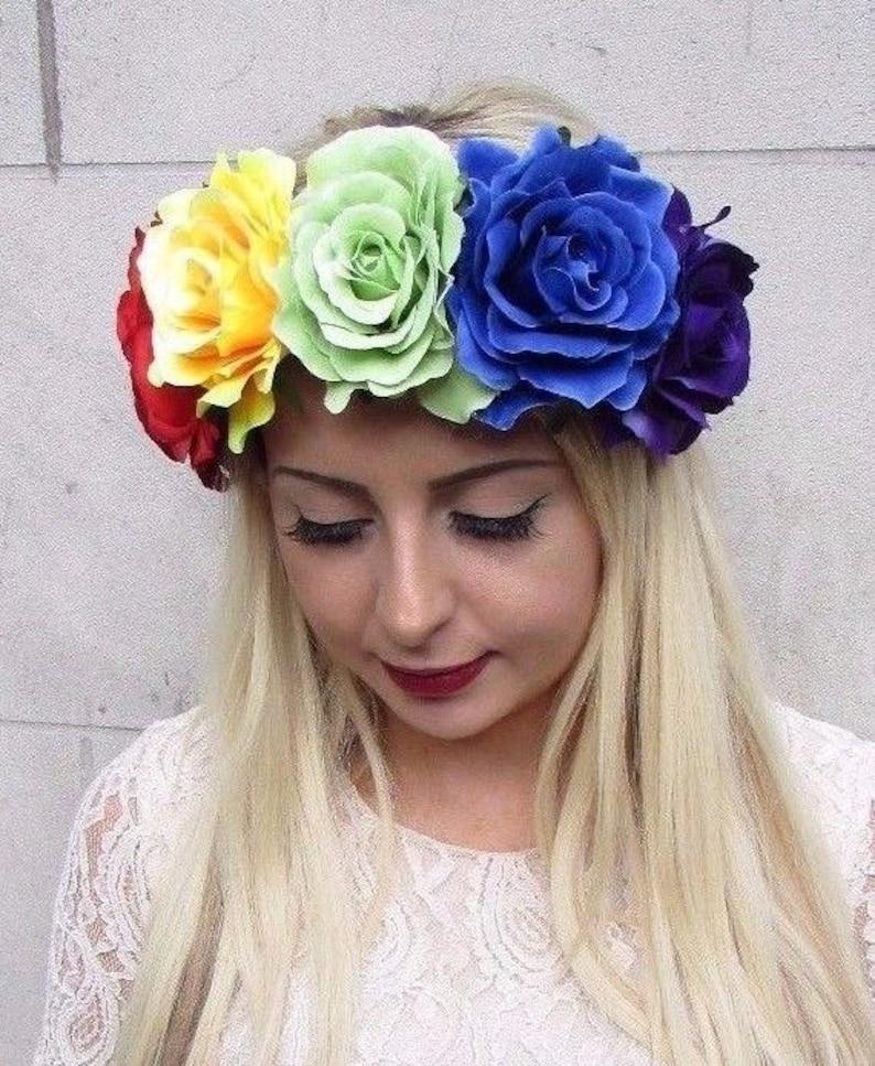 Large Halloween Black {SUGAR SKULL }ROSE Flower Garland Elastic Headband