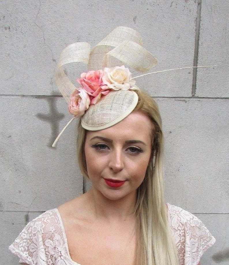 a20ce22f427bc Beige Blush Pink Sinamay Rose Flower Feather Hat Fascinator   Etsy