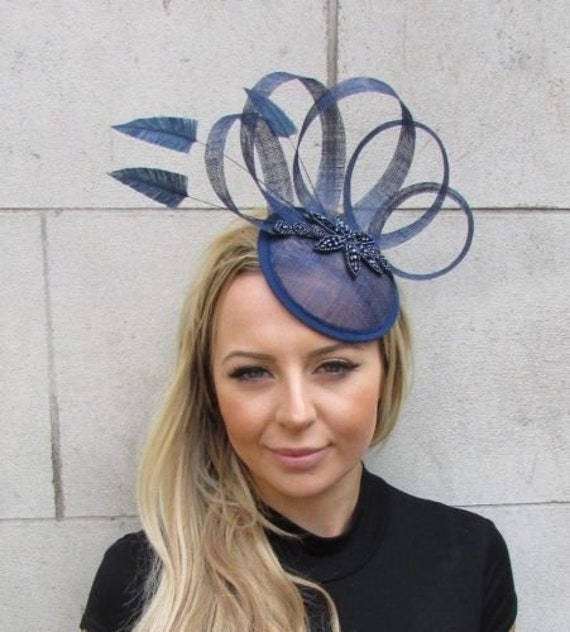 4da8fdf6b30 Navy Blue Sinamay Feather Pillbox Hat Fascinator Races Wedding