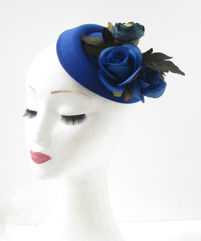 White Camellia Flower Pillbox Hat Vtg Fascinator Races Rockabilly 1950s 40s 2068