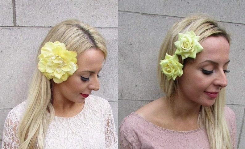 Set of Lemon Light Pale Yellow Flower Hair Clips Sale! Roses and Dahlia Wedding Floral Rockabilly Fascinators DS5