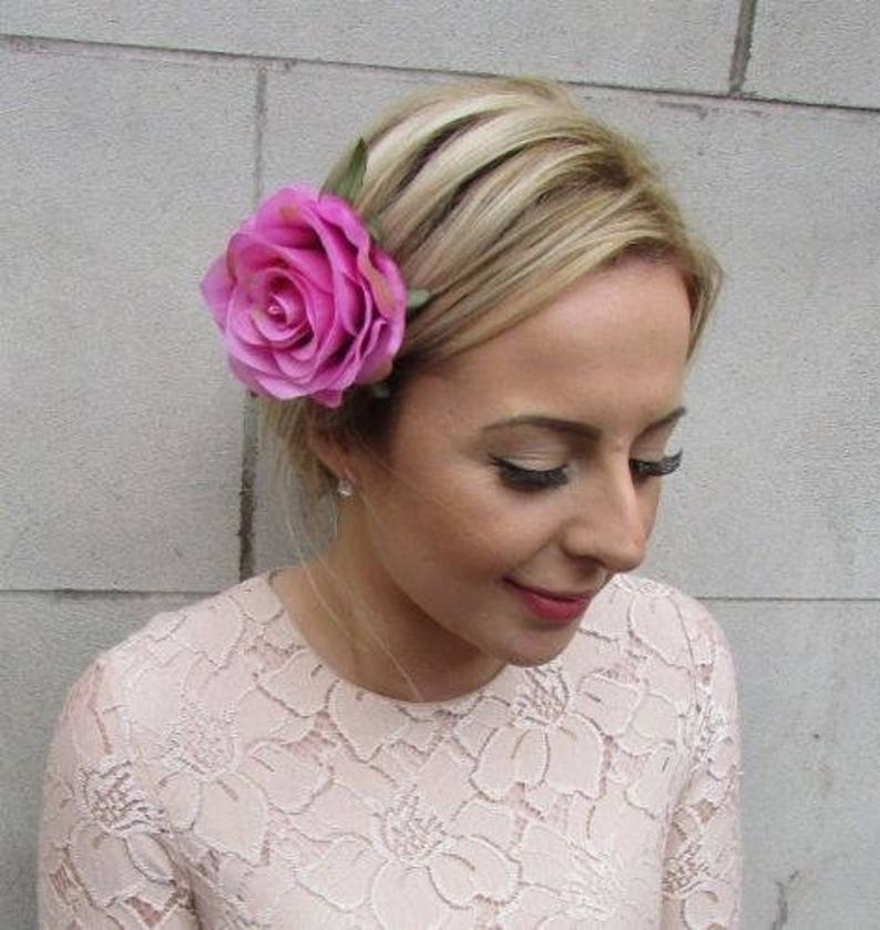 3c45994c63 Pink Rose Flower Hair Clip Fascinator Bridesmaid 1950s 1940s   Etsy
