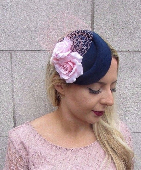 Navy Blue Blush Light Pink Rose Flower Pillbox Hat Fascinator  b4637043a4d